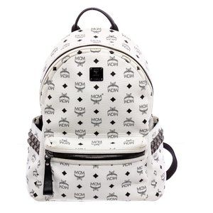 MCM White Black Visetos Canvas Stark Backpack